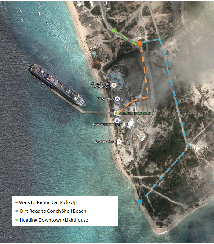 Map from the Grand Turk Cruise Port to the Rental Car Pick up and Conch Shell Beach