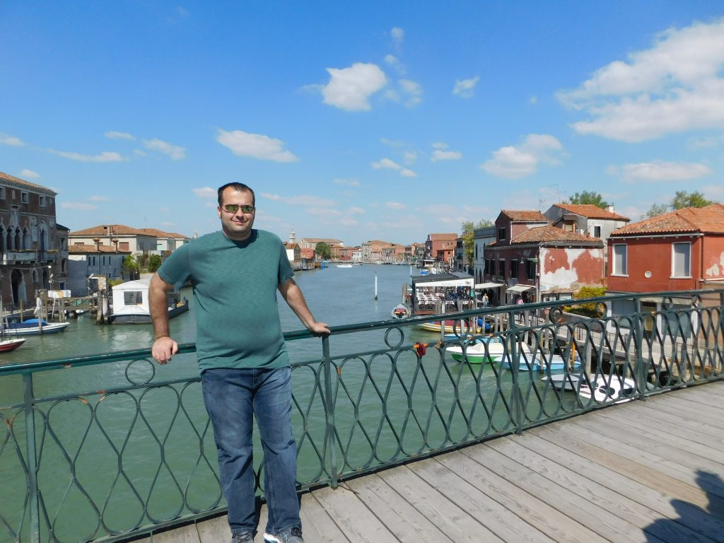 #11 My handsome husband on a bridge in the middle of Murano.