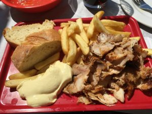 Chicken Gyro platter lunch, delicious and near the acropolis