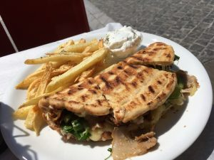 Delicious lunch of Chicken PIta & Fries near the Acropolis