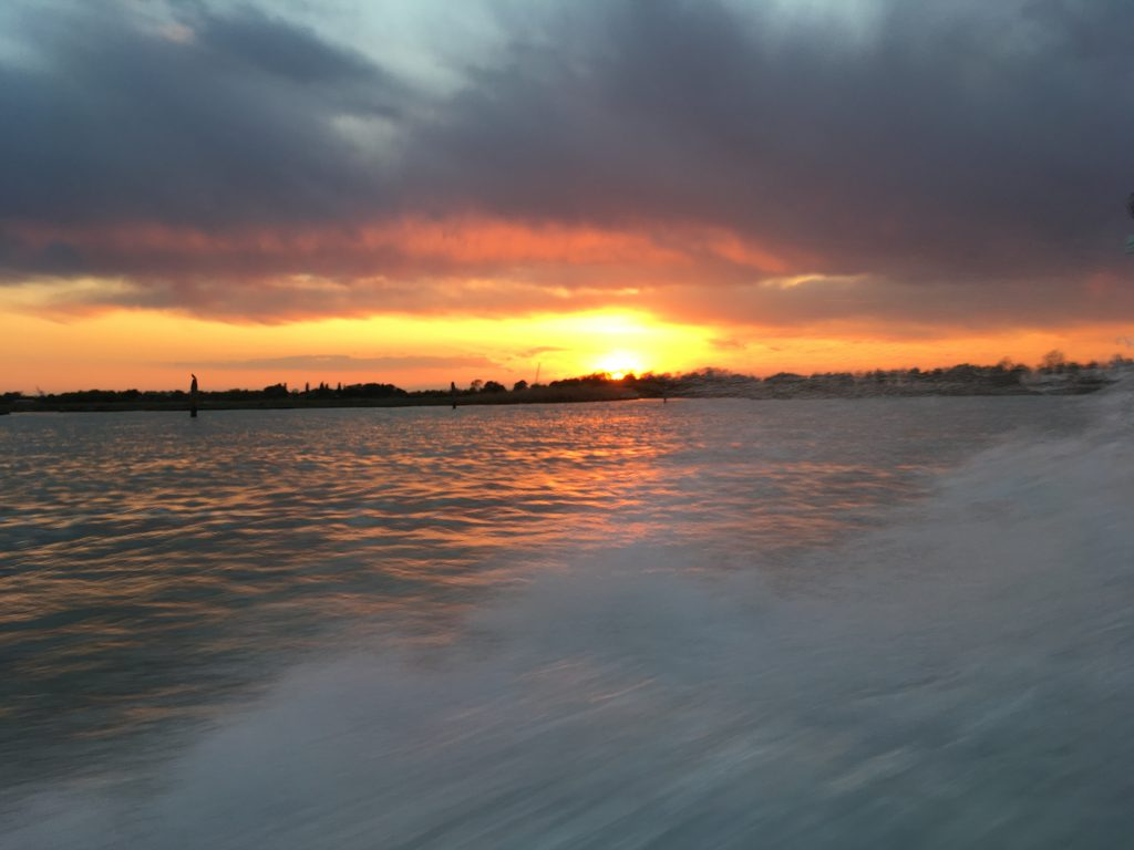 #10 The beautiful sunset that was happening as we arrived in Venice!