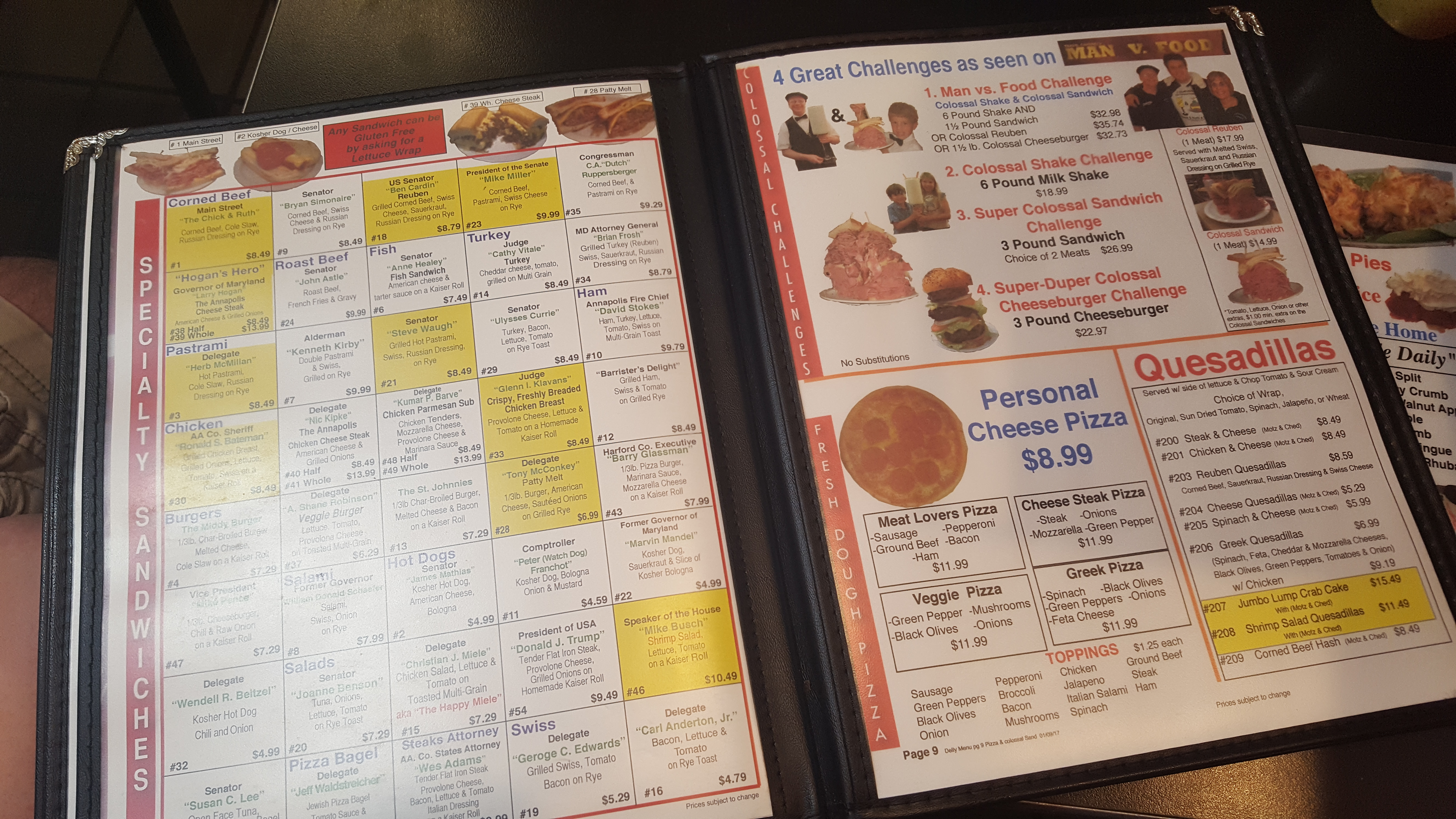 The crazy menu at Chick & Ruth's Delly, Annapolis, MD