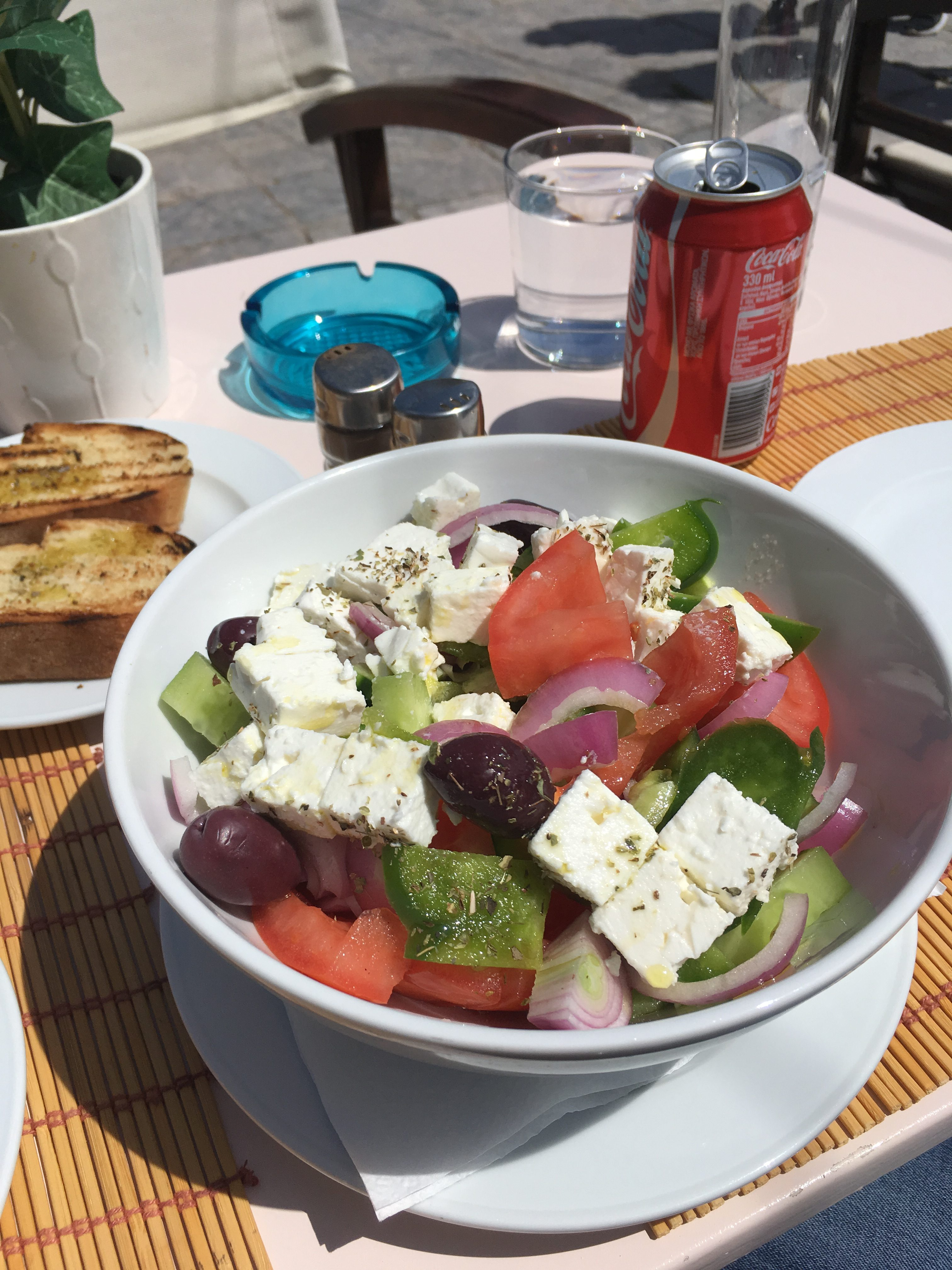 Greek Salad for brunch in Hydra while cruising to 3 Greek Islands