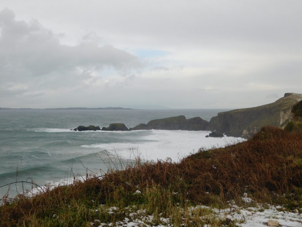 Carrick-a-Rede as seen from afar because it was closed on this Northern Ireland roadtrip!