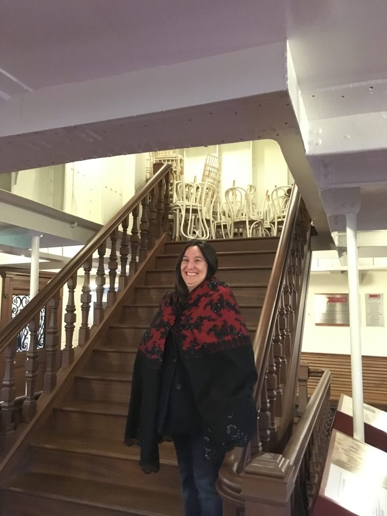 #8 Modeling one of the lovely outfits at the SS Nomadic. I'm making my grand entrance to the ball on those stairs.